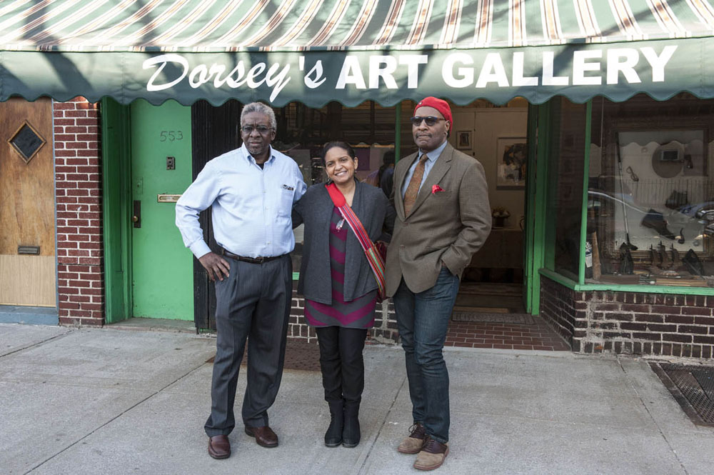 Lamerol A. Gatewood, Luanda Lozano, and Al Johnson, their art reception in front of Dorsey's Art Gallery.