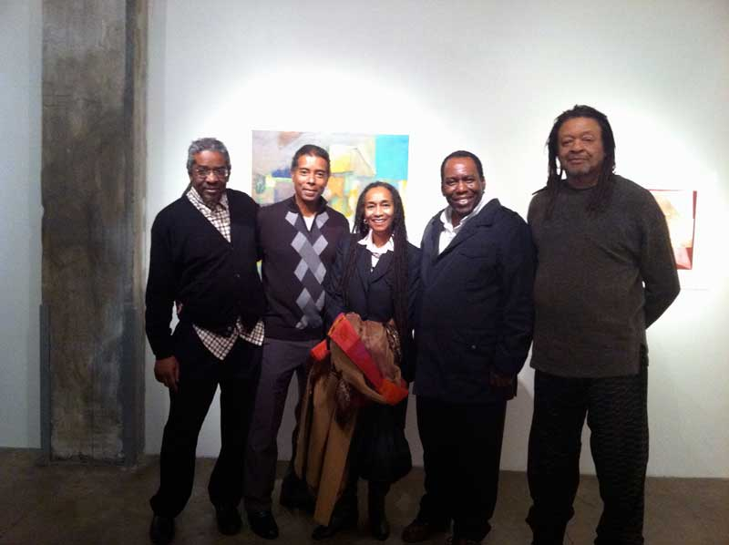 Lamerol Gatewood, Michael Marshal, Diane Gatewood, Dennis Forbes, and Quincy Troupe at the Skoto Gallery, NYC, May, 2012.